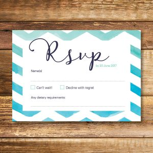 watercolour chevron wedding RSVP